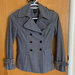 Express Double Breasted Gray Peacoat